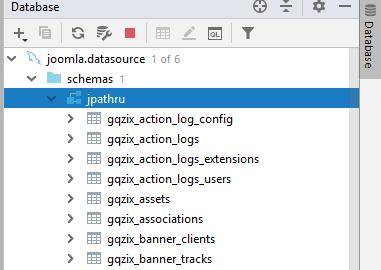 Список таблиц базы данных