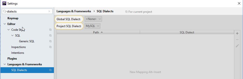 Окно настроек SQL Dialects