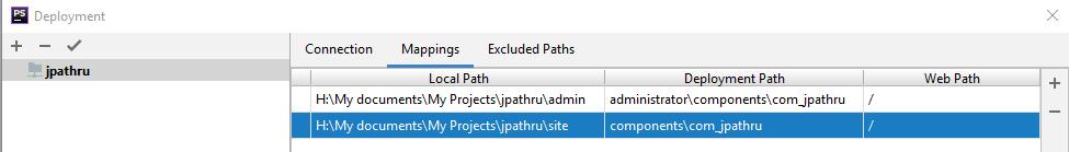 Параметры соответствия путей (маппинг) локльного сервера