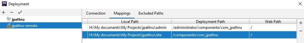 Параметры соответствия путей (маппинг) удалённого сервера